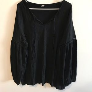 Old Navy Black Long Sleeve Blouse